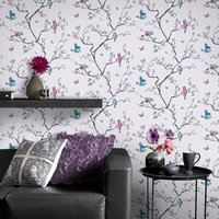 Graham & Brown Pink and Blue Oriental Mai Wallpaper, Pink - Oriental Gifts