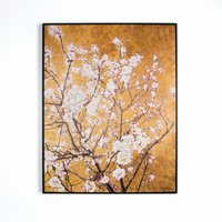 Graham & Brown Oriental blossom hand painted framed canvas, Brown - Oriental Gifts