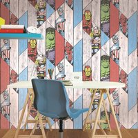 Graham & Brown Wood Panel Thor Spiderman Hulk Wallpaper, Brown - Hulk Gifts