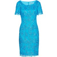 Gina Bacconi Embroidered corded mesh dress, Blue