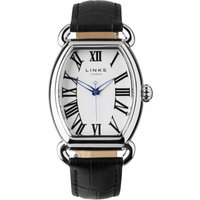 links of london driver ellipse black leather watch, black