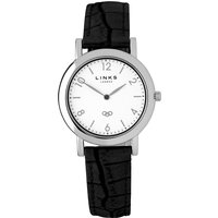 Links of London Noble slim black leather watch, Black
