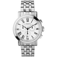 links of london richmond white dial chronograph watch, silver