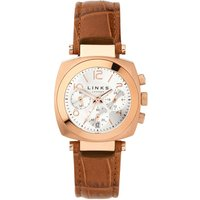 links of london brompton silver dial chronograph watch, rose gold
