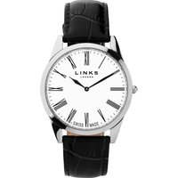 links of london noble mens slim black leather watch, black