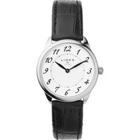 links of london narrative womens black leather watch, black