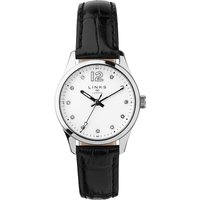 links of london greenwich noon black leather watch, black