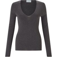 Jigsaw Silk Cotton V Neck Sweater, Grey - Jigsaw Gifts