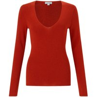 Jigsaw Silk Cotton V Neck Sweater, Orange - Jigsaw Gifts