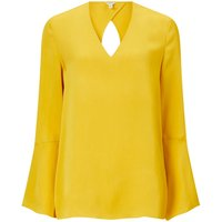 Jigsaw Fluted Sleeve Viscose Blouse, Yellow