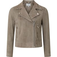 Jigsaw Suede Biker Jacket, Dark Grey