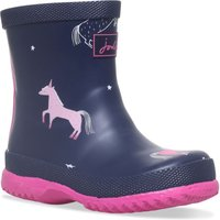 Joules Girls French Navy Unicorns Wellingtons, Blue