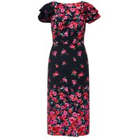 Monsoon Eva Print Midi Dress, Black