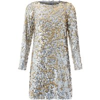Monsoon Juliet Sequin Dress, Silver Silverlic