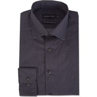 Mens Double TWO Dotted Print 100 Cotton Formal Shirt, Black