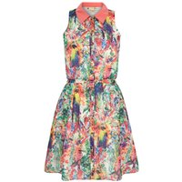 Yumi Tropical Parrot Print Shirt Dress, Multi-Coloured