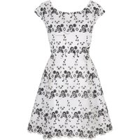 Yumi Floral Organza Skater Dress, Black