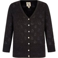 Yumi Boat Pointelle Cardigan, Black