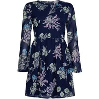YumiYumi Navy Floral Print Dress With Long Sleeves, Blue