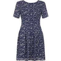 YumiYumi Navy Day Dress With Ditsy Floral Print, Blue