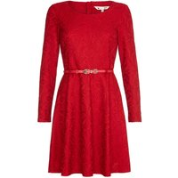 YumiYumi Red Floral Lace Long Sleeve Dress, Red