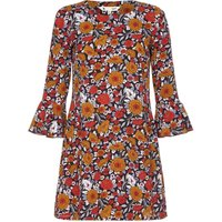 YumiYumi Rusty Floral Printed Dress With Bell Sleeves, Rust