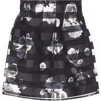 Yumi Striped Floral Organza Occasion Skirt, Black
