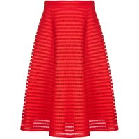 Yumi Eyelet Embroidery Flared Midi Skirt, Red