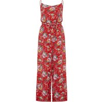 Yumi Flower Print Jumpsuit, Red