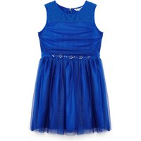 Yumi Girls Tulle Dress with Embellished Waist, Blue