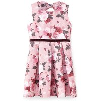 Yumi Girls Rose Print Jacquard Dress, Pink