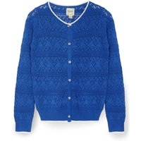 Yumi Girls Heart and Crest Stitched Cardigan, Blue