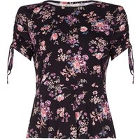 Yumi Ruched Sleeve Woodland Floral Top, Black
