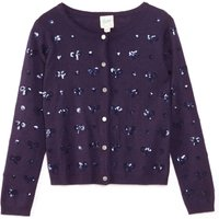 Yumi Girls Embellished Sequin Bow Cardigan, Blue
