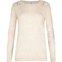Yumi Jumper With Lace Rhinestone Sleeves, White