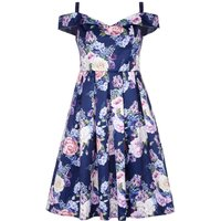 Mela London Floral Bardot Prom Dress, Blue