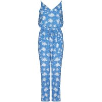 Mela London Palm Tree Print Jumpsuit, Blue