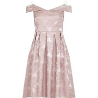 Mela London Jacquard Bardot Prom Dress, Rose Gold