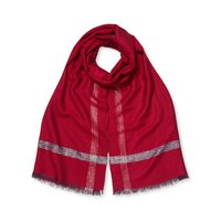 East Lurex Border Scarf, Red