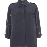 Mint Velvet Indigo Star 4-Pocket Jacket, Light Blue