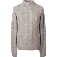 Men's Pretty Green Cable Knit Roll Neck Jumper, Grey