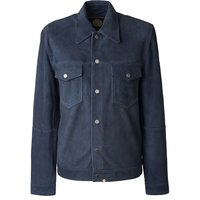 Mens Pretty Green Suede Button Up Jacket, Blue