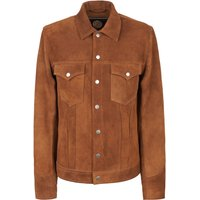 Mens Pretty Green Button Up Suede Jacket, Tan