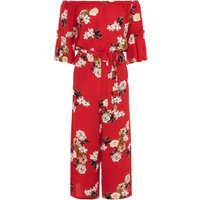 Quiz Quiz Red Floral Print Frill Culotte Jumpsuit, Red