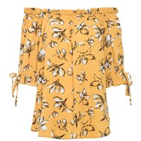 Quiz Quiz Mustard And White Floral Bardot Top, Yellow