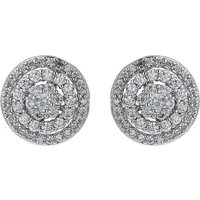 Mikey Filigree Circle Crystal Stud Earring, White