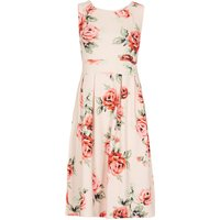 Feverfish Rose Print Flared Dress, Pink - Seek Gifts