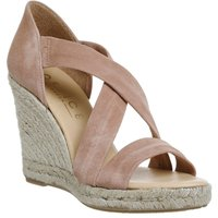 Office Holiday cross front espadrille wedges, Nude