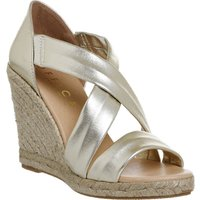 Office Holiday cross front espadrille wedges, Gold