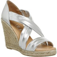 Office Holiday Cross Front Espadrille Wedges, Silver